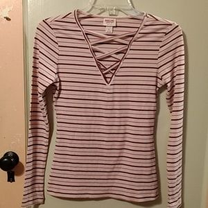 Mossimo Long Sleeve Pullover Blouse EUC